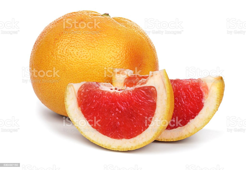 Ripe grapefruit and slices stock photo