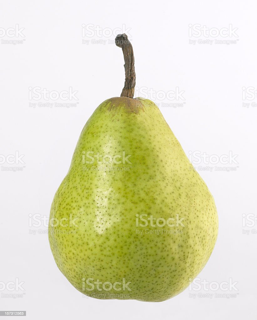 A ripe green pear isolated on white stock photo