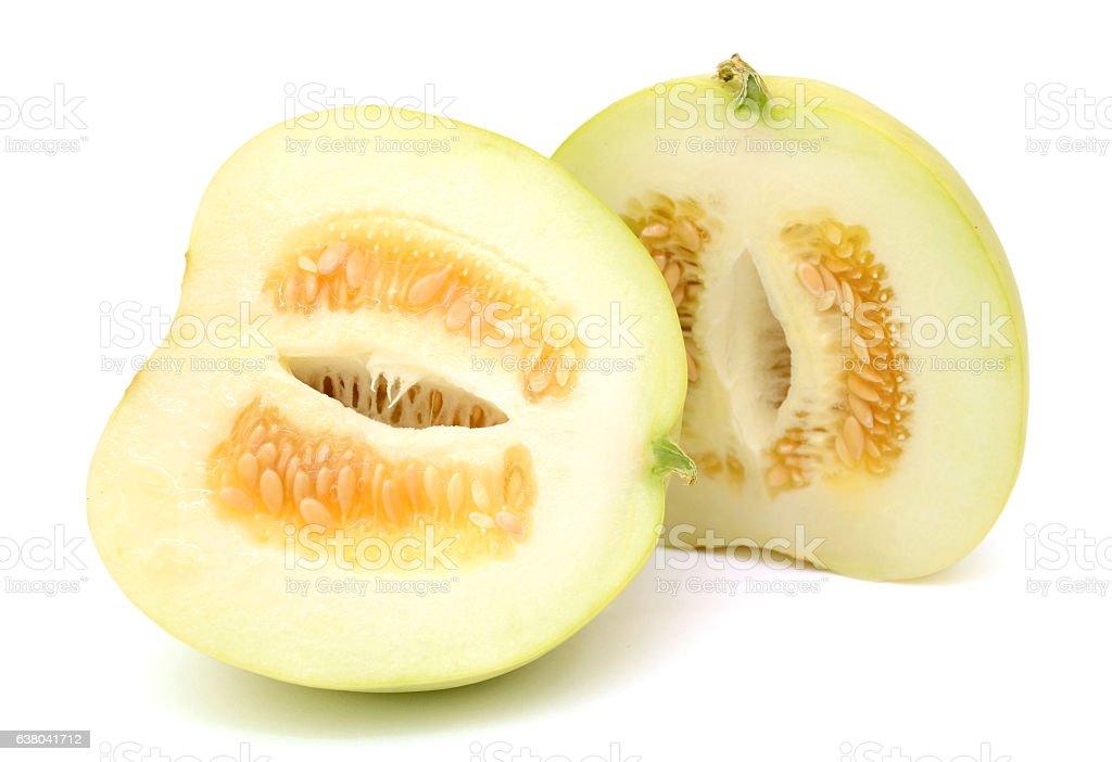 Ripe Melon fruit (Cucumis melo) isolated on white background stock photo