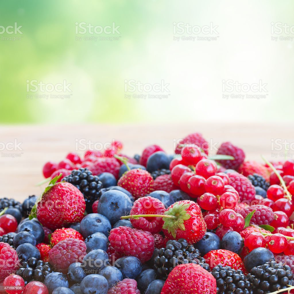 ripe  of  berries on table stock photo