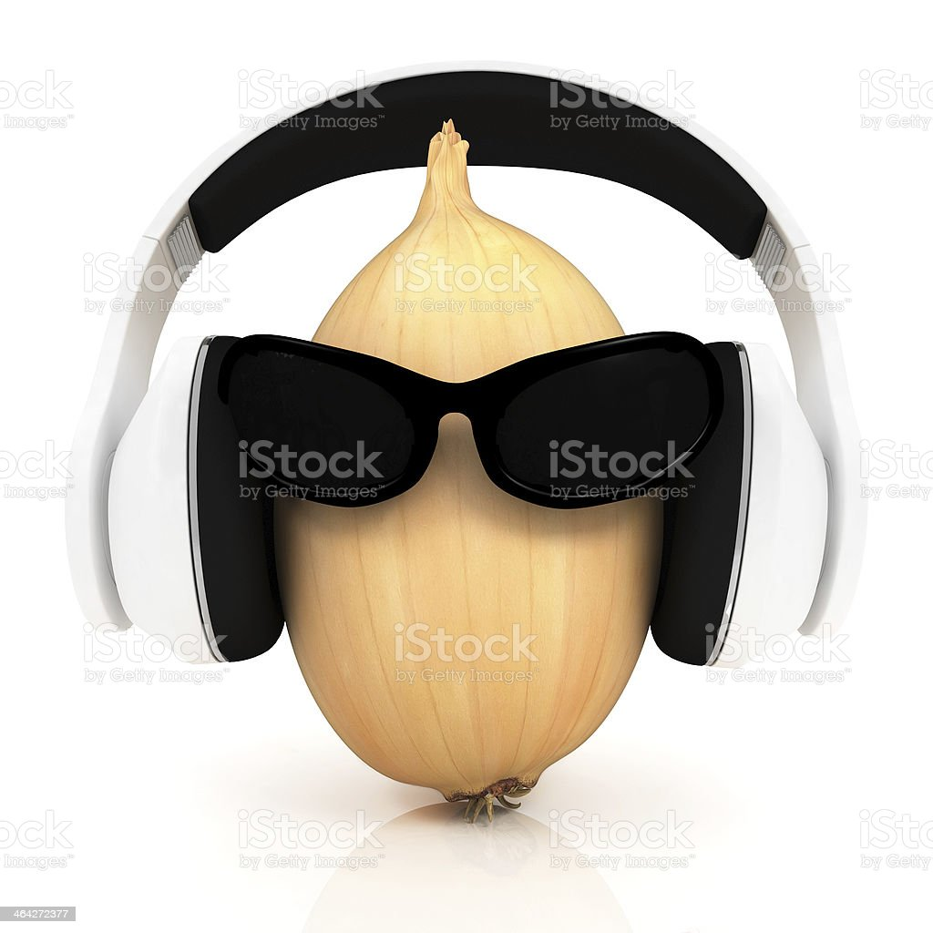 Ripe onion with sun glass and headphones front 'face' stock photo