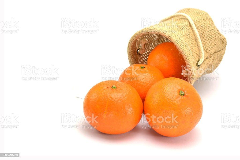 Ripe orange isolated on white background stock photo