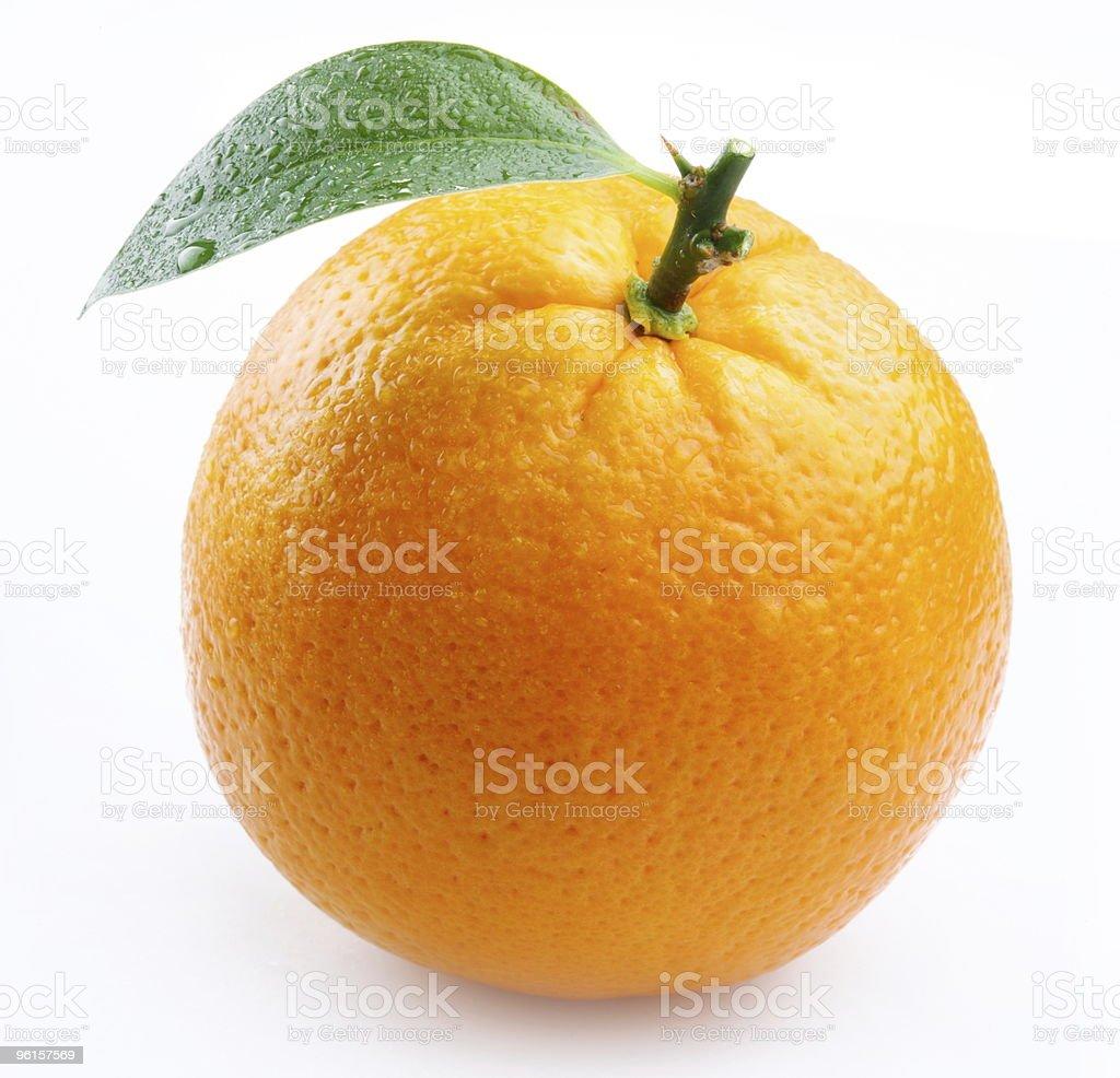 ripe orange with leaves on white background royalty-free stock photo