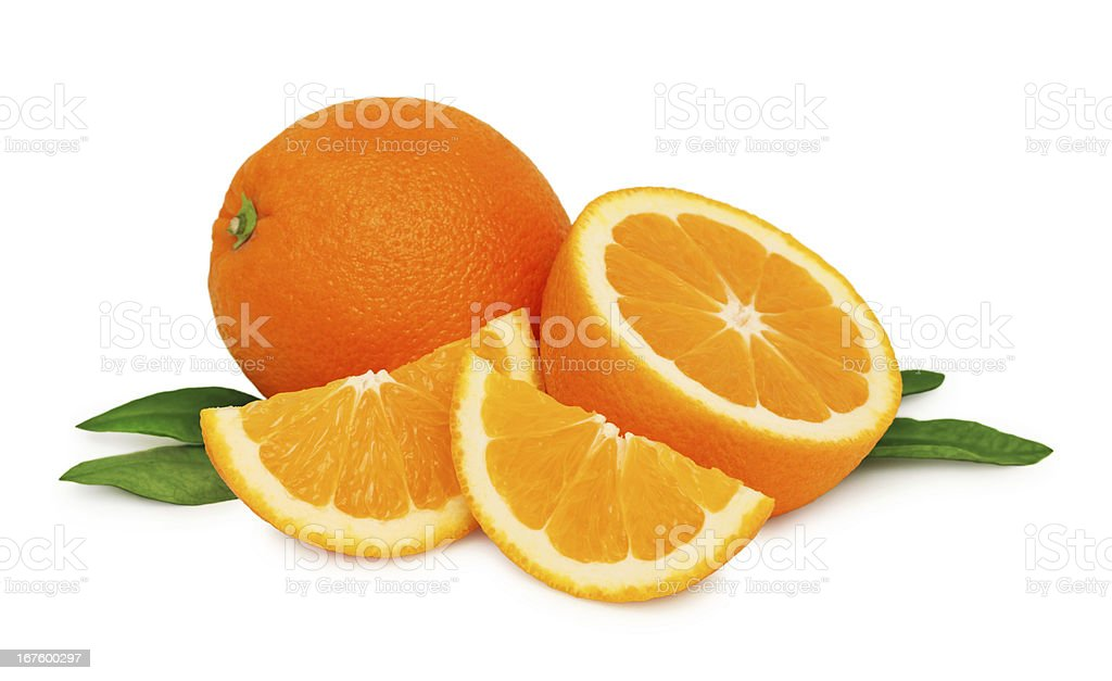 Ripe oranges and two slices with green leaves (isolated) royalty-free stock photo