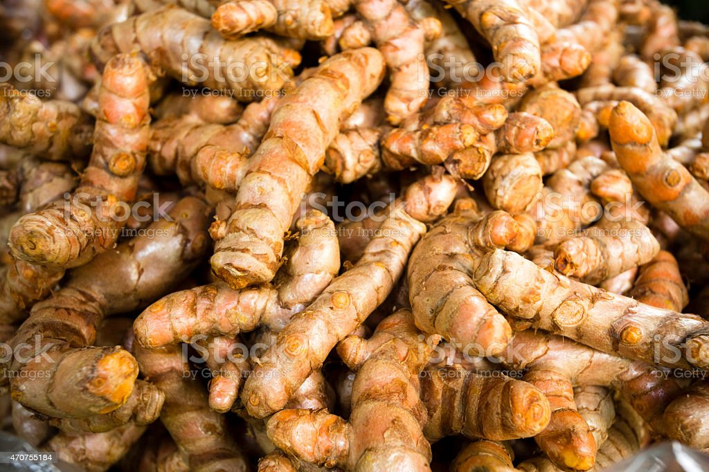 Ripe Organic Raw Turmeric stock photo