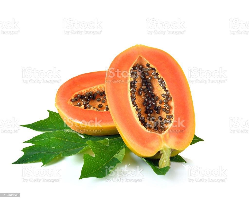 ripe papaya fruit on white background stock photo
