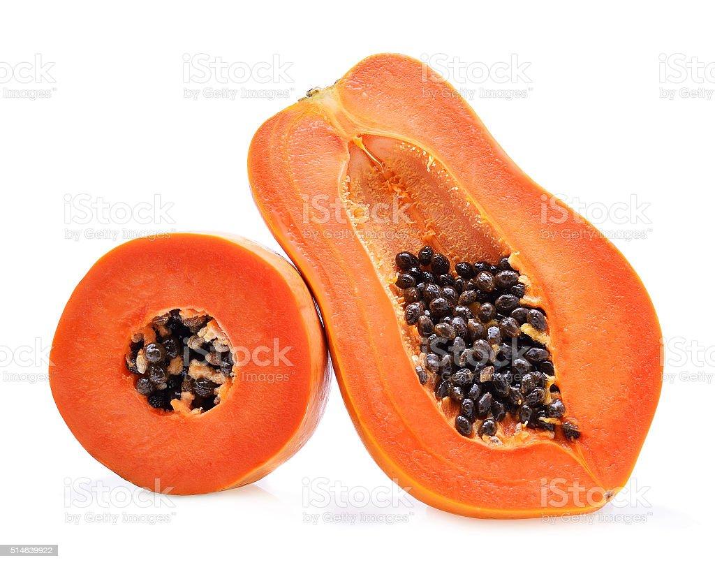 ripe papaya isolated on a white background stock photo