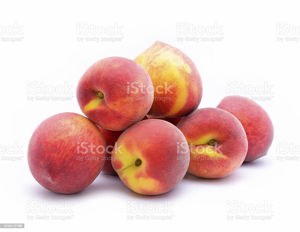 Ripe peach fruit isolated on white background stock photo