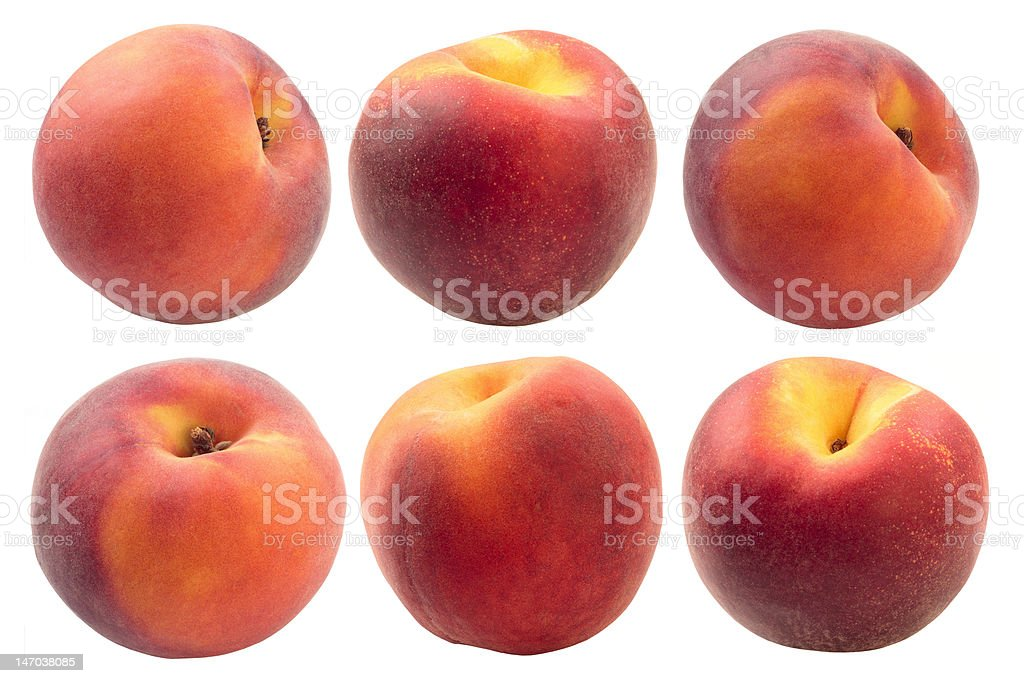 Ripe peach fruits on a white background royalty-free stock photo