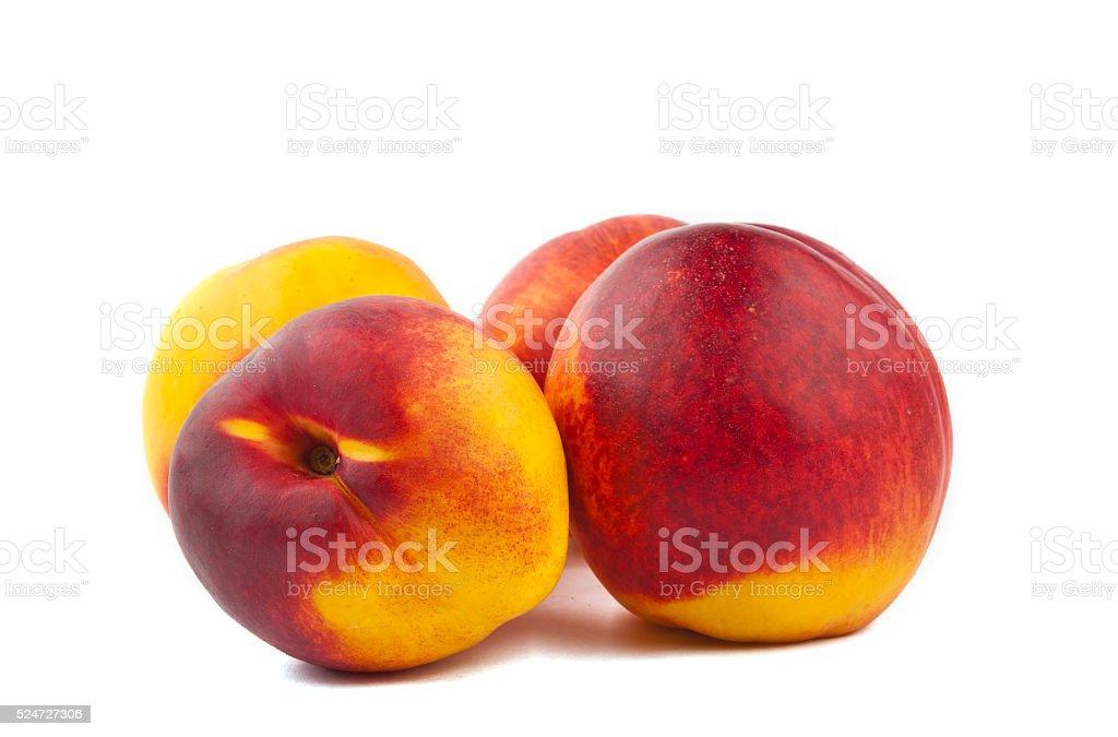 ripe peach isolated stock photo