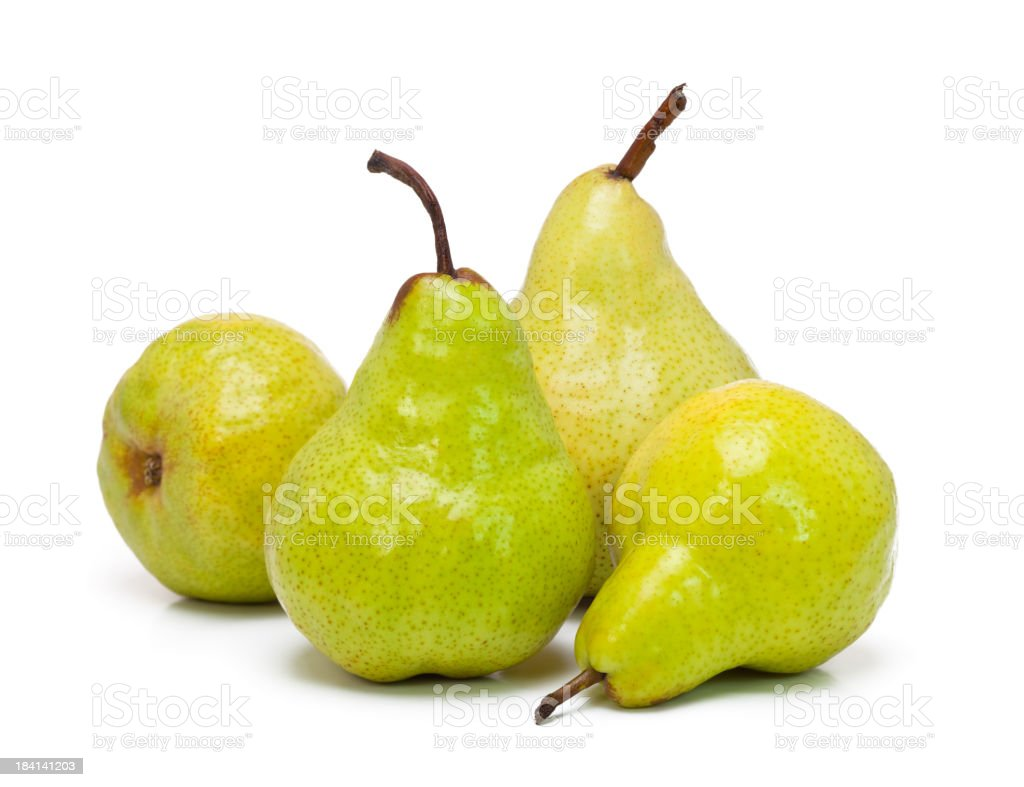 Ripe pear on a white background stock photo