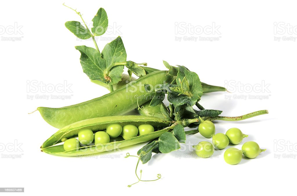 ripe peas with green leaf royalty-free stock photo