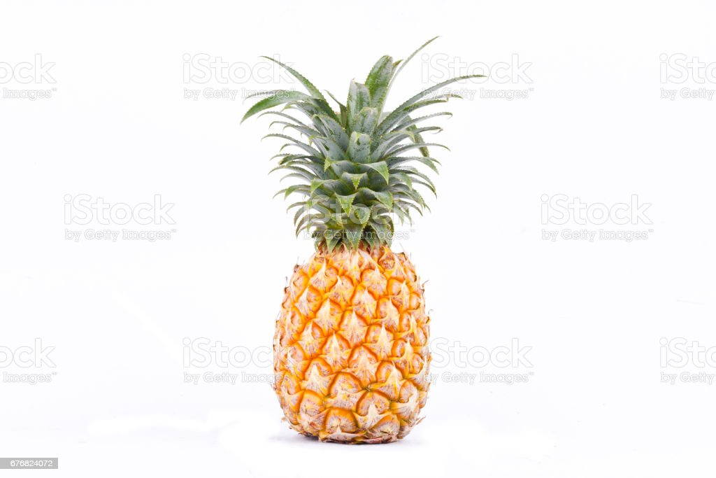 ripe pineapple is  tropical fruit on white background healthy pineapple fruit food isolated stock photo