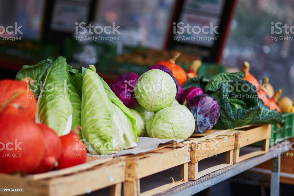 Ripe pumpkins and cabbage on farmer agricultural market stock photo