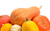 ripe pumpkins on white background