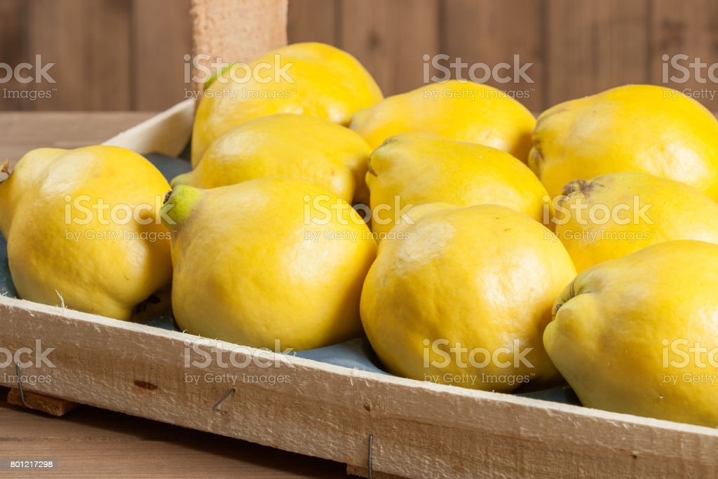 Ripe Quince Fruits In Wooden Box. stock photo