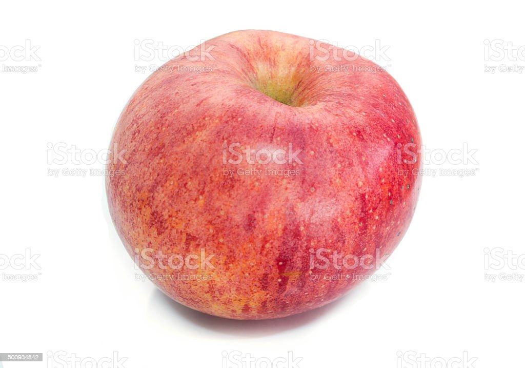 Ripe red apple. Isolated on a white background stock photo