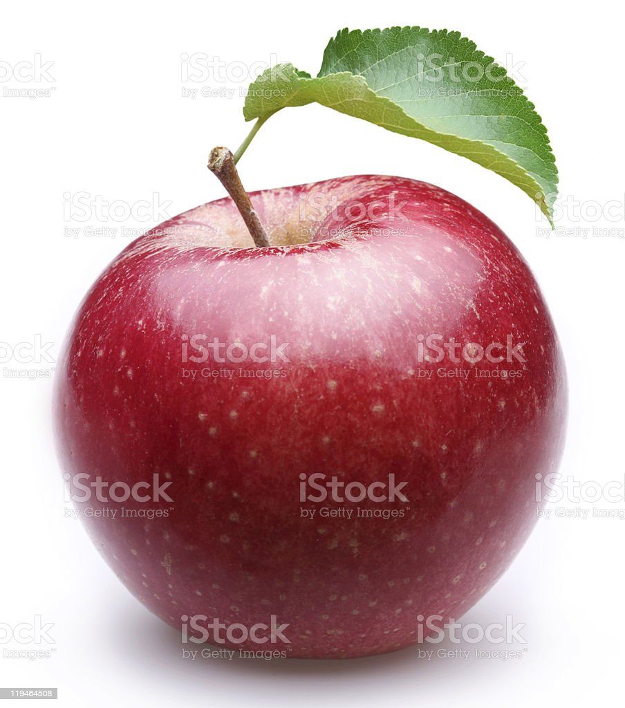 Ripe red apple with a leaf on white background stock photo