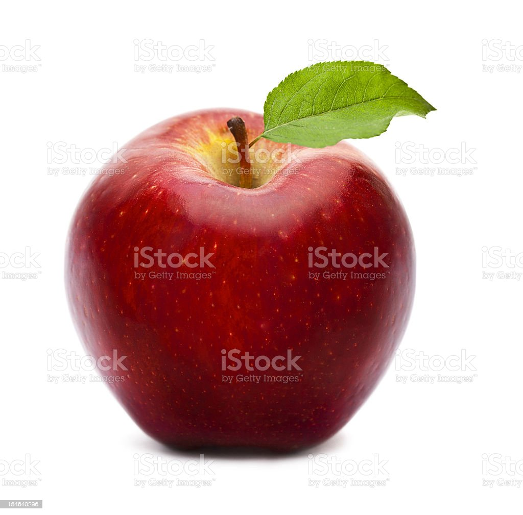 Ripe red apple with green leaf isolated on white stock photo