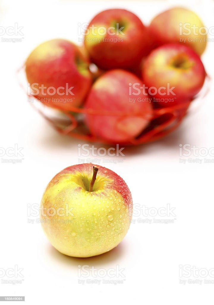 Ripe red apples on a white background royalty-free stock photo