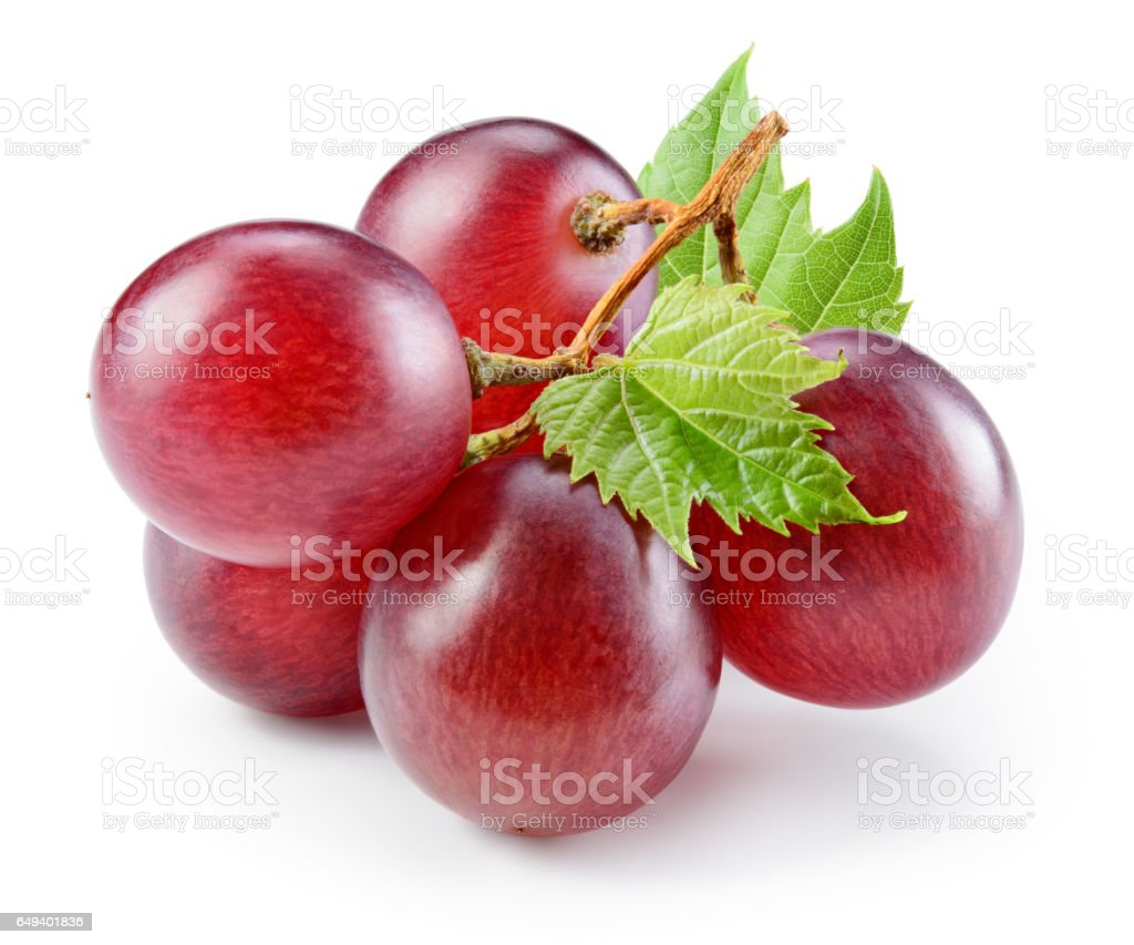 Ripe red grape with leaf isolated on white. With clipping path. Full depth of field. stock photo