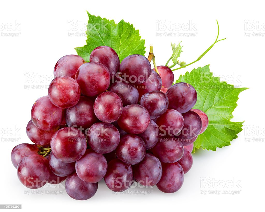 Ripe red grape with leaves isolated on white stock photo