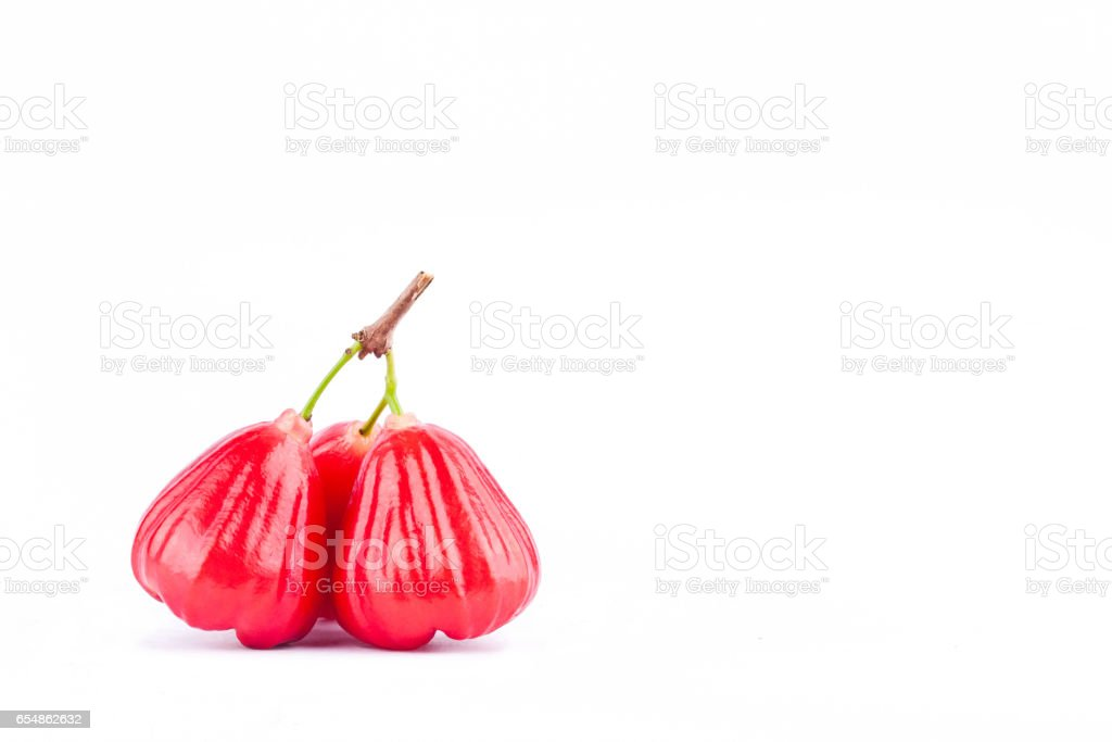 ripe red rose apple  on white background healthy rose apple fruit food isolated stock photo