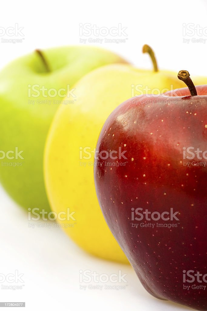 ripe red yellow green apple composition isolated royalty-free stock photo