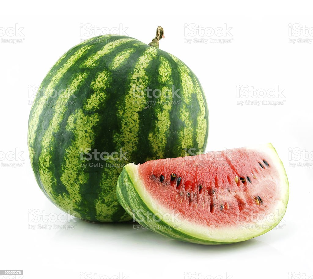 Ripe Sliced Green Watermelon Isolated on White royalty-free stock photo