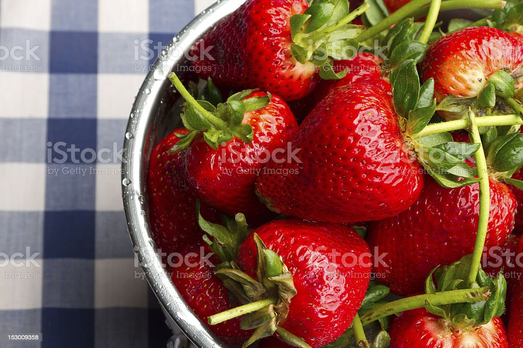 Ripe Strawberries on Blue Gingham royalty-free stock photo