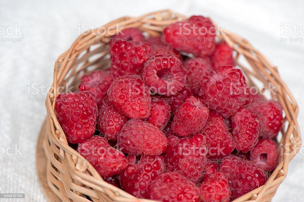 Ripe sweet raspberries in small wicker basket. stock photo