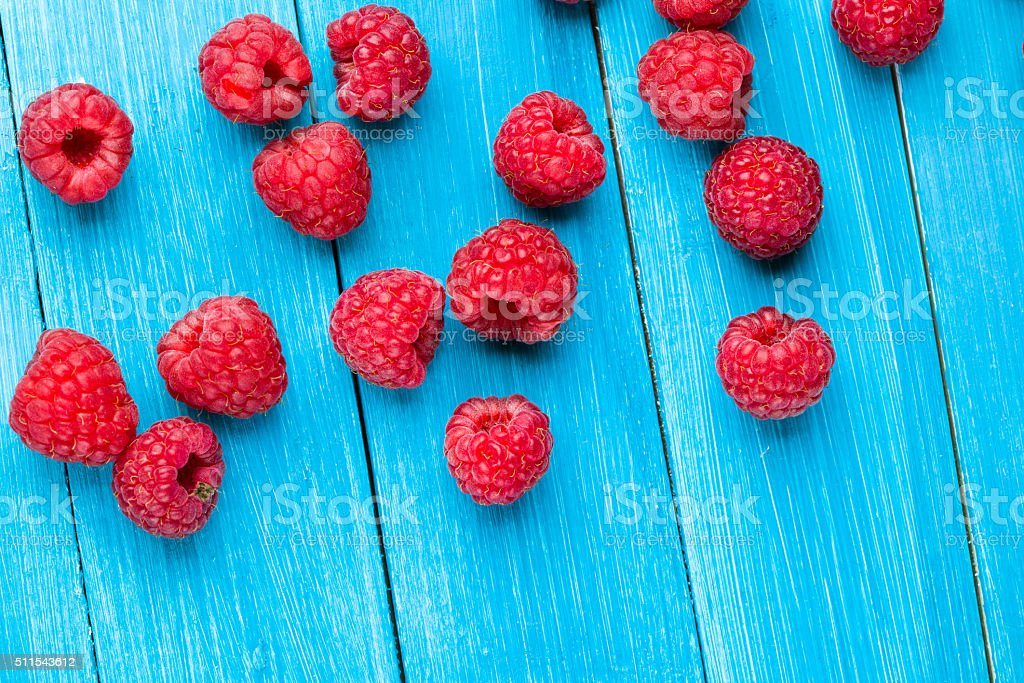 Ripe tasty raspberries stock photo