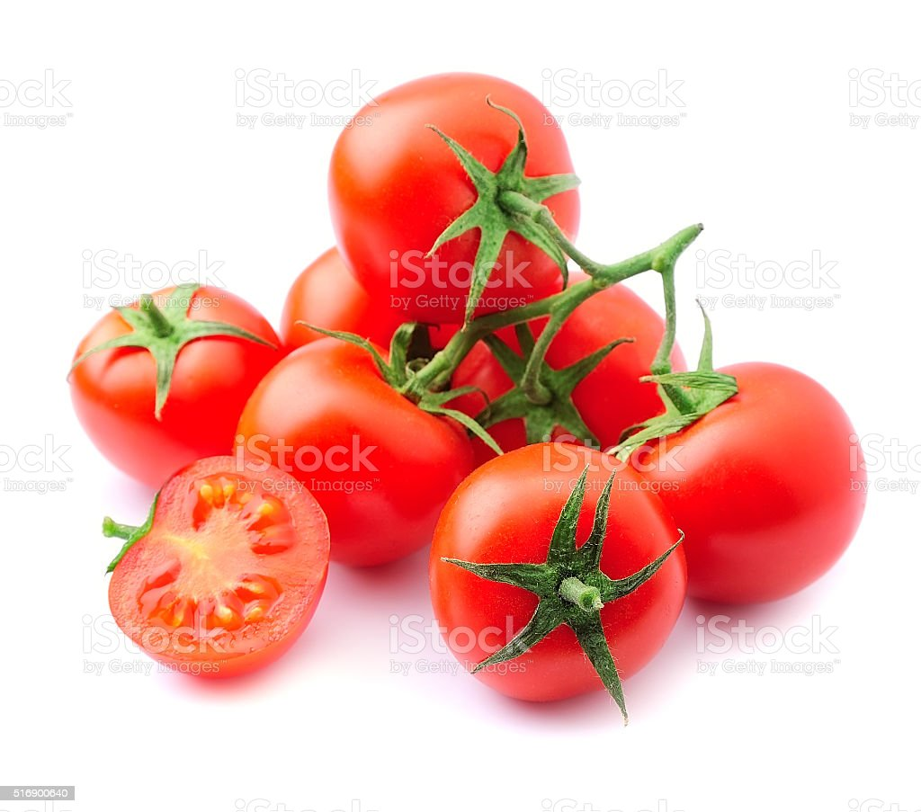 Ripe tomato closeup isolated stock photo