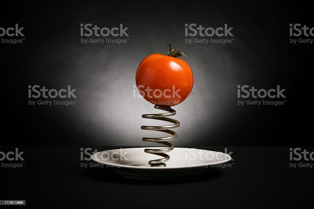 ripe tomato dishes and steel spring royalty-free stock photo