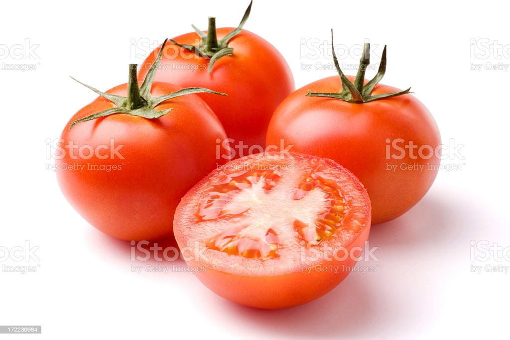 Ripe tomatoes on a white background royalty-free stock photo