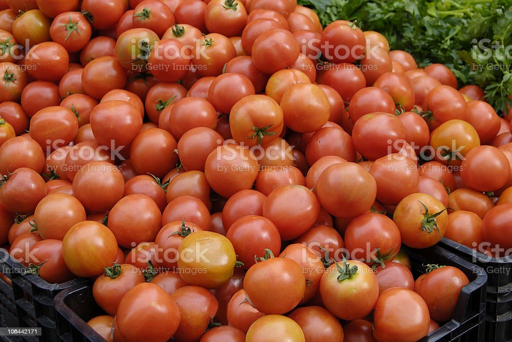 Ripe tomatoes on market stall. France royalty-free stock photo