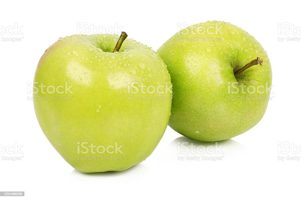 Ripe two apples with stems stock photo