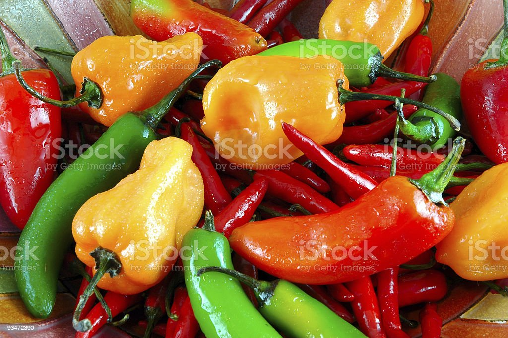 Ripe vibrant fresh hot peppers stock photo