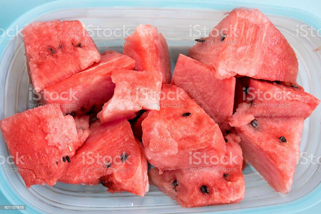 ripe watermelon cut in cube stock photo