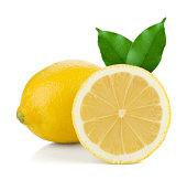 Ripe whole and halved lemon isolated on white background