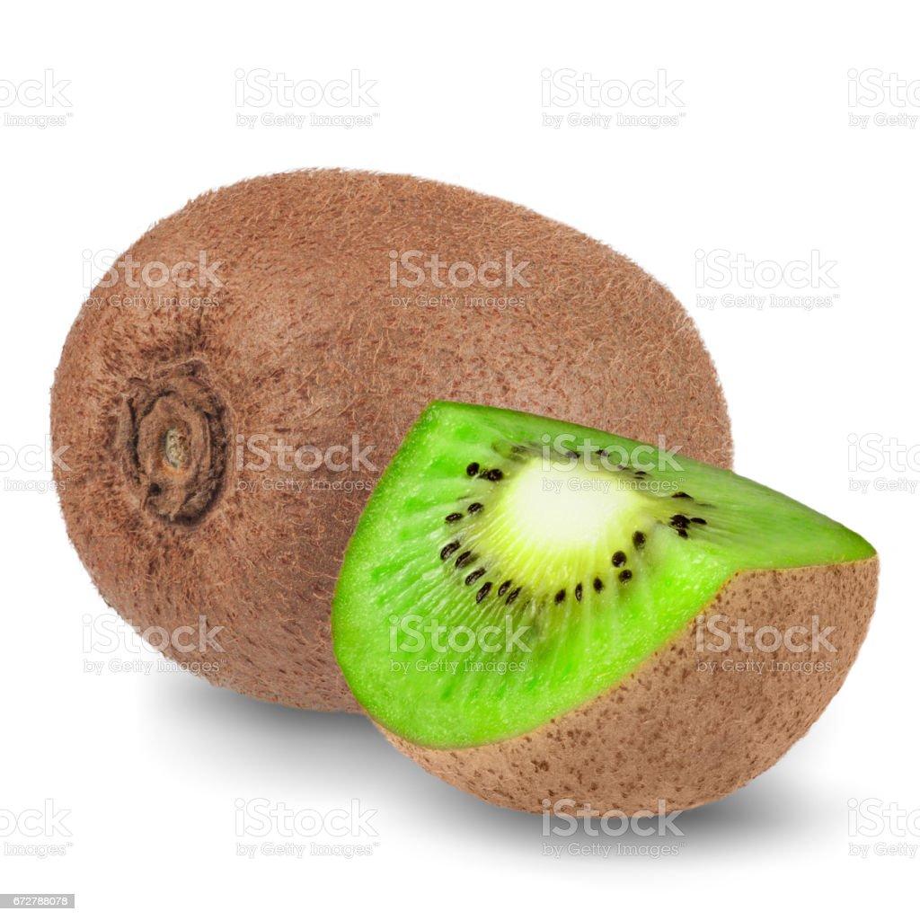 Ripe whole kiwi fruit and half kiwi fruit isolated on white background stock photo