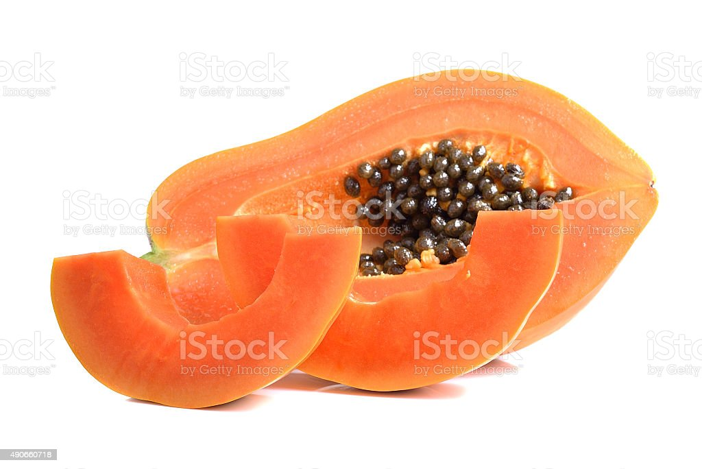 Żółty papai dojrzałe owoce na białym tle zbiór zdjęć royalty-free