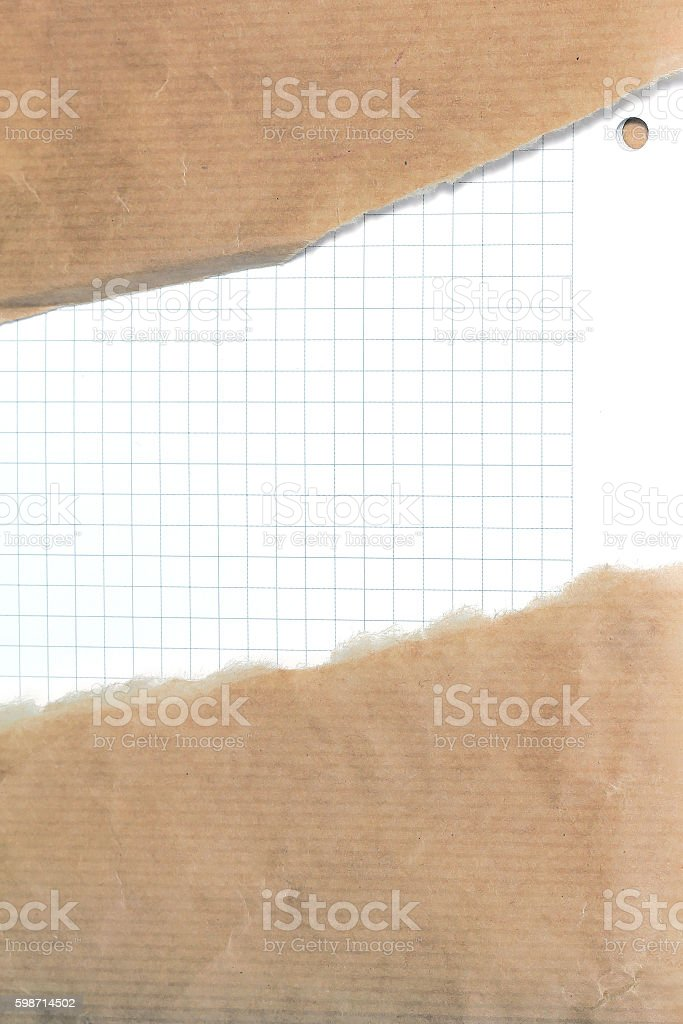 Ripped brown paper background stock photo