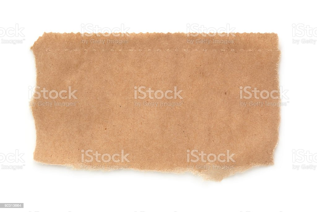 Ripped brown paper isolated on white background stock photo