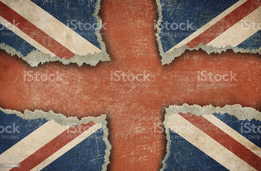 Ripped cardboard in form of British flag royalty-free stock photo