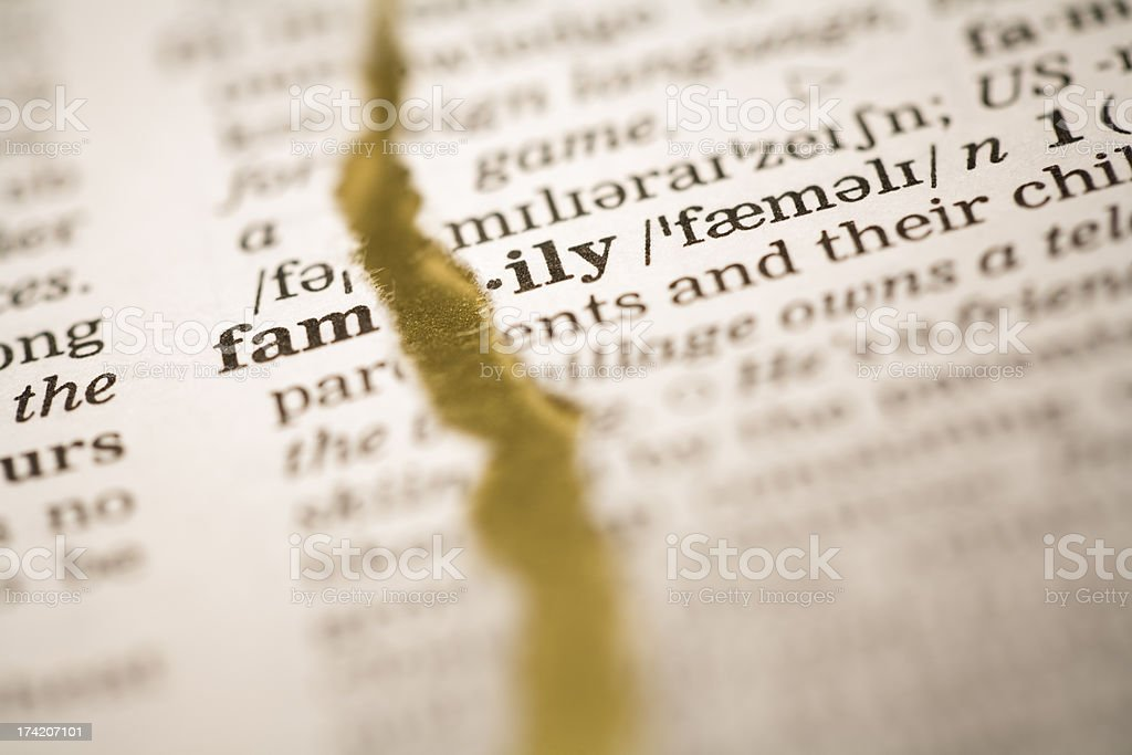 Ripped dictionary page series: family royalty-free stock photo
