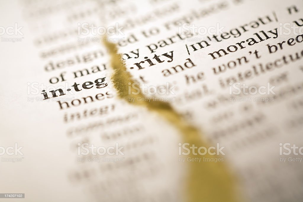 Ripped dictionary page series: integrity royalty-free stock photo