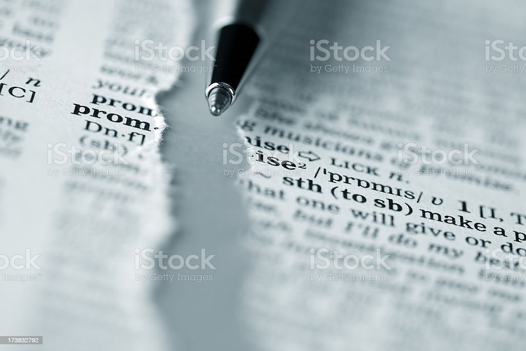 Ripped dictionary page series: promise royalty-free stock photo