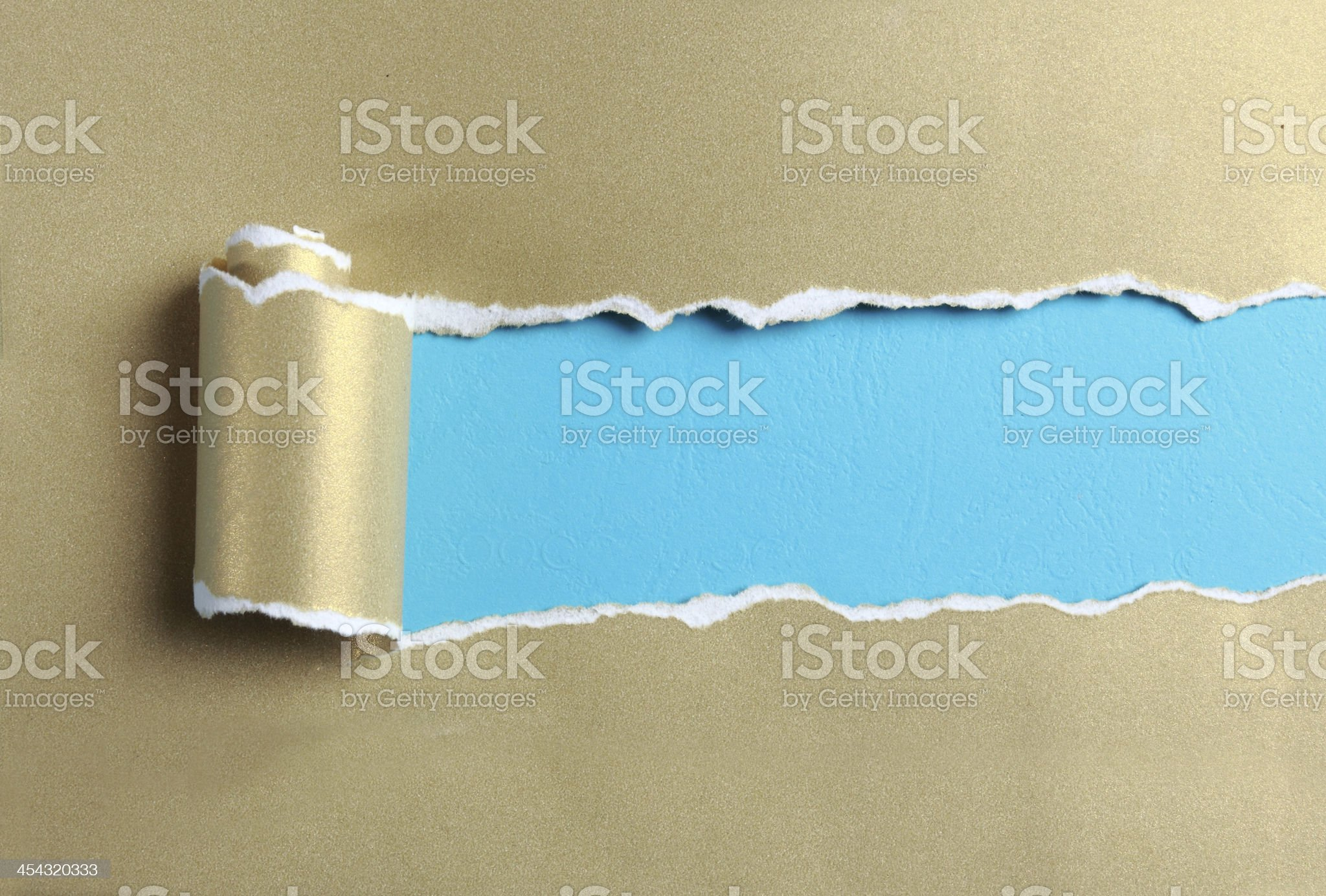 Ripped gold paper royalty-free stock photo