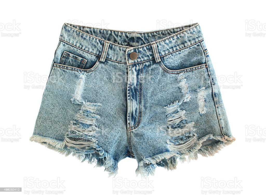 Ripped jeans shorts stock photo